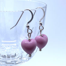Earrings with pink pastel Murano glass mini heart drops on silver or gold hooks