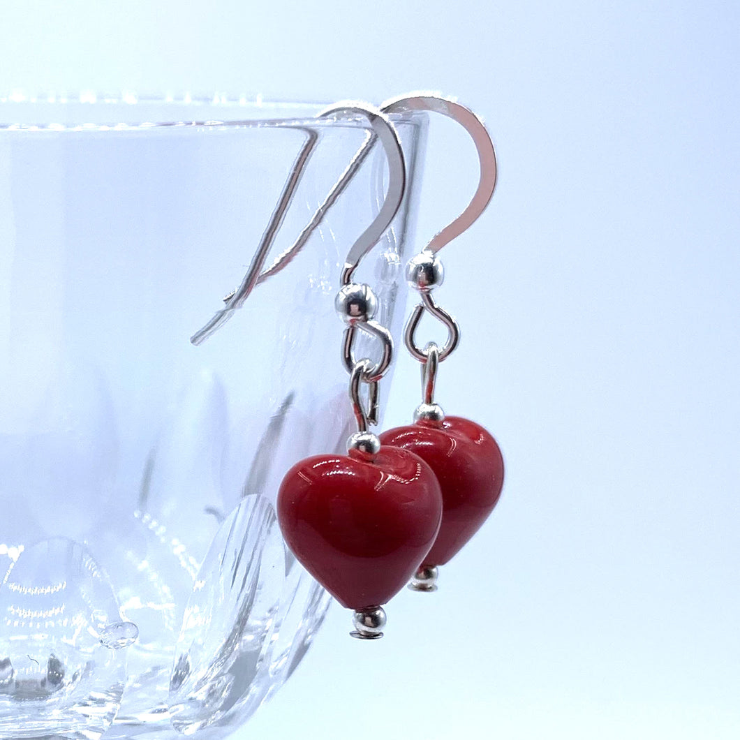 Earrings with red pastel Murano glass mini heart drops on silver or gold hooks