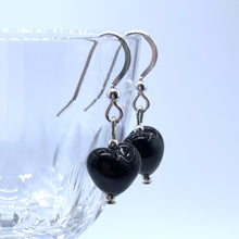 Earrings with black pastel Murano glass mini heart drops on silver or gold hooks