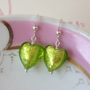 Earrings with light green (peridot) Murano glass small heart drops on silver or gold hooks