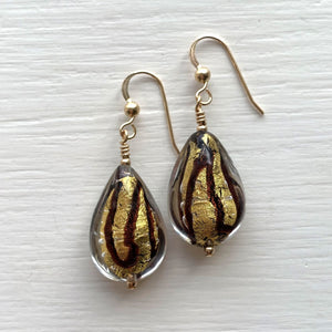 Earrings with black pastel and gold Murano glass medium pear drops on silver or gold hooks