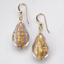 Earrings with purple pastel and gold Murano glass pear drops on silver or gold hooks