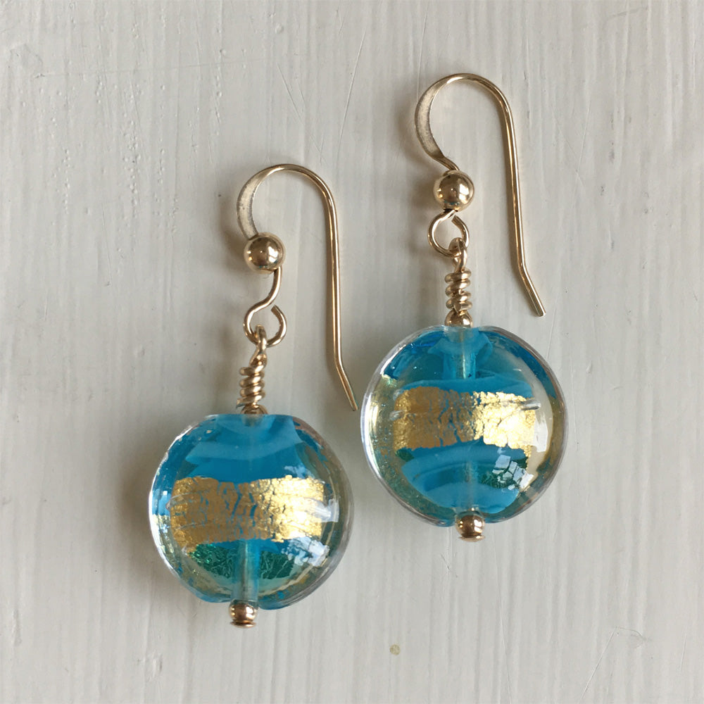 Earrings with turquoise (blue) pastel and gold Murano glass small lentil drops