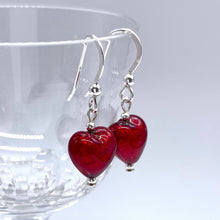 Earrings with red Murano glass mini heart drops on silver or gold hooks