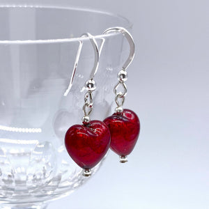 Earrings with red (it. rosso) Murano glass mini heart drops on silver or gold hooks