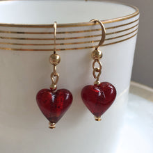 Red (it. Rosso) Mini Heart Drop Earrings On Silver Or Gold Ear Wires.