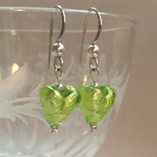 Earrings with light green (lime, peridot) Murano glass mini heart drops on silver or gold hooks