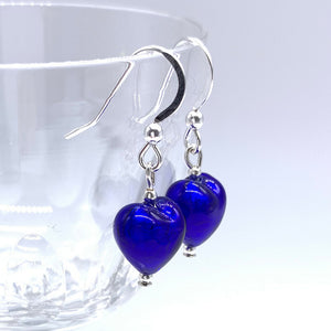 Earrings with dark blue (cobalt) Murano glass mini hearts on Sterling Silver or 22 Carat gold vermeil hooks