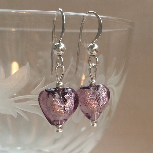Earrings w/ light amethyst (purple) Murano glass mini hearts on Sterling Silver or 22 Carat gold vermeil hooks