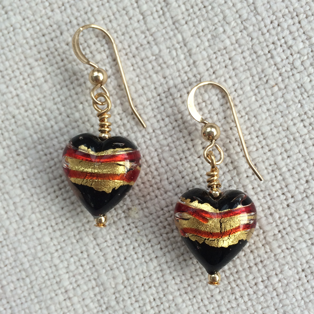 Red With Gold Leaf On Black Pastel Heart Drop Earrings On Silver Or Gold Ear Wires.