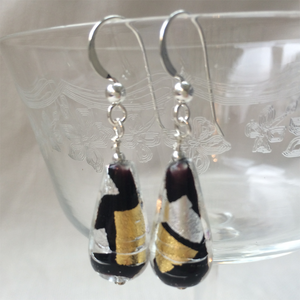 Earrings with black, silver and goldMurano glass short pear drops on silver or gold hooks