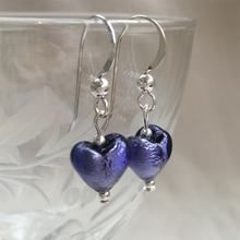 Earrings with purple velvet Murano glass mini heart drops on Sterling Silver or gold vermeil hooks