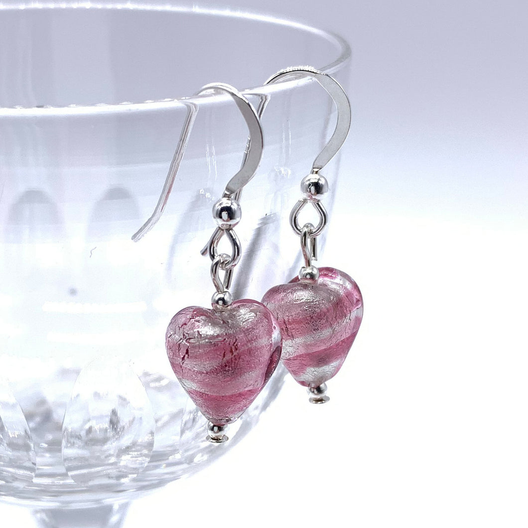 Earrings with candy stripe pink Murano glass mini heart drops on Sterling Silver or gold vermeil hooks