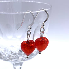 Earrings with light red Murano glass mini hearts on Sterling Silver or 22 Carat gold vermeil hooks