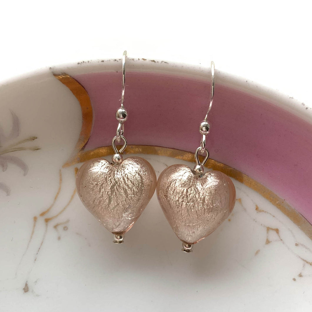 Earrings with champagne (peach, pink) Murano glass small heart drops on silver or gold hooks