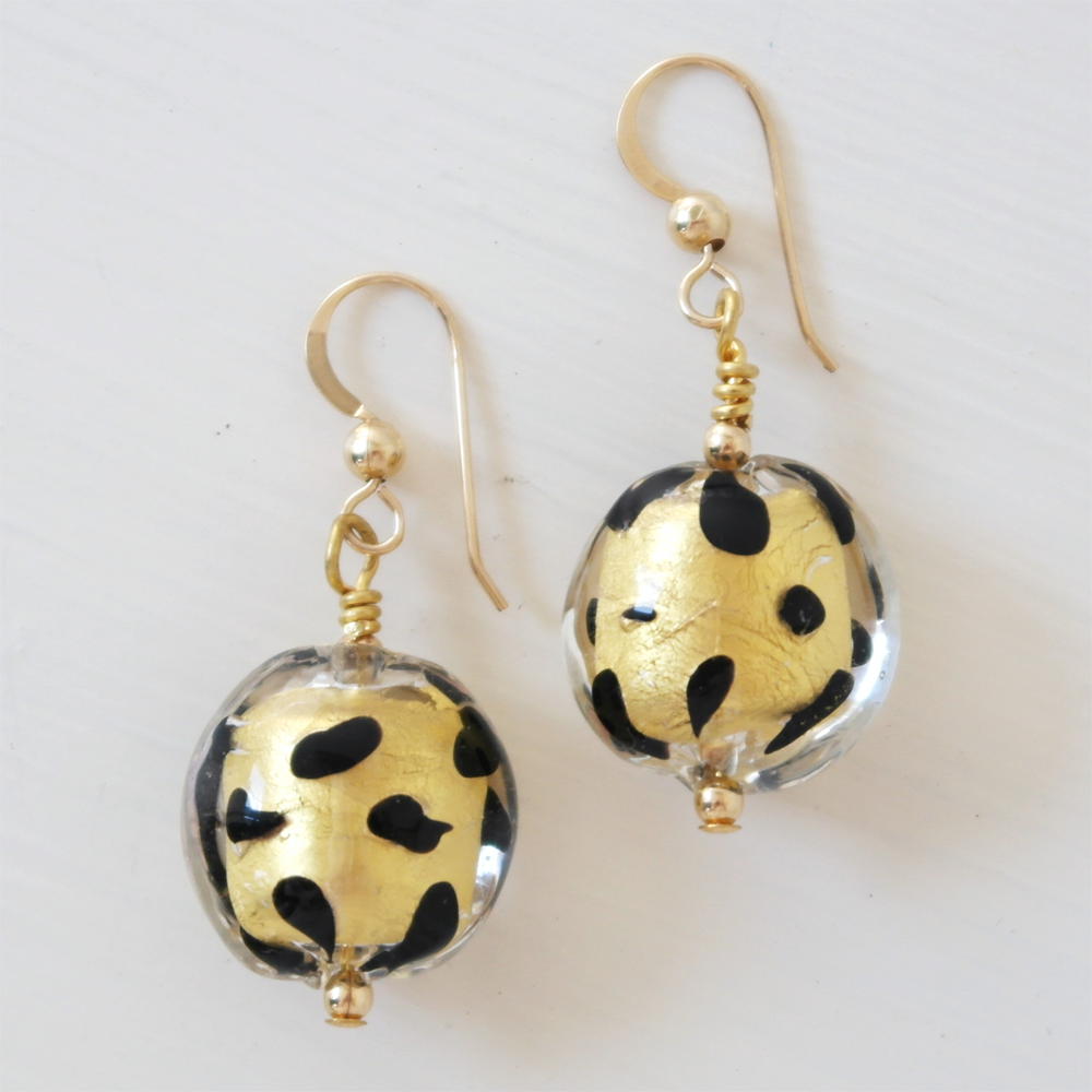 Earrings with spotted black & gold foil Murano glass lentils 'smarties' (16mm) on 925 Sterling Silver or 22 Carat gold vermeil shepherds hook ear wires.