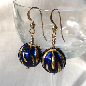 Earrings with dark blue (cobalt) over gold Murano glass sphere drops on silver or gold