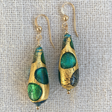 Earrings with shades of blue and gold Murano glass long pear drops on silver or gold hooks