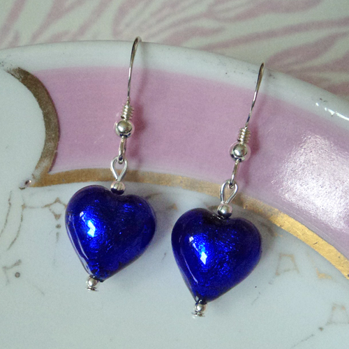 Earrings with dark blue (cobalt) Murano glass small heart drops on Sterling Silver or 22 Carat gold vermeil hooks