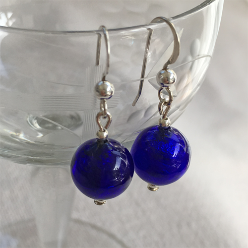 Earrings with dark blue (cobalt) Murano glass mini sphere drops on silver or gold hooks