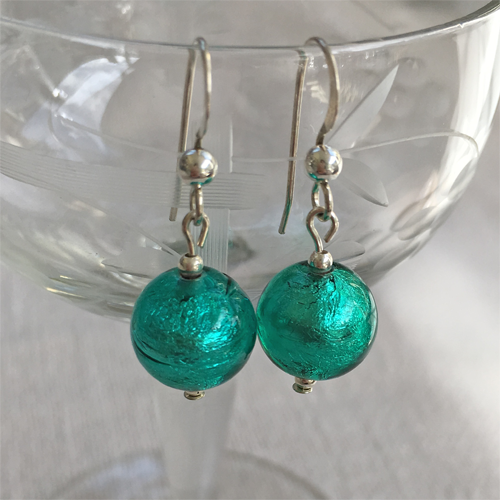 Earrings with teal (green, jade) Murano glass mini sphere drops on silver or gold hooks