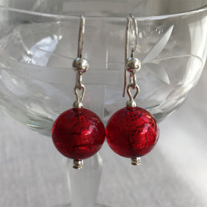 Earrings with red (it. rosso) Murano glass mini sphere drops on silver or gold hooks