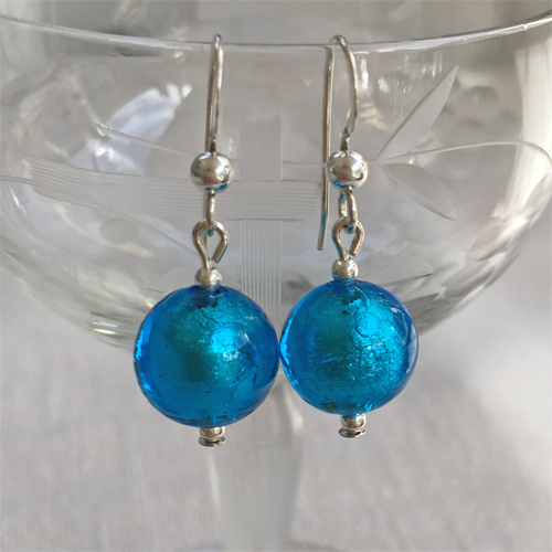 Earrings with turquoise (blue) Murano glass mini sphere drops on silver or gold hooks