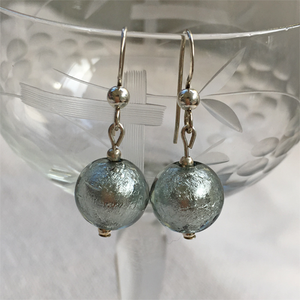 Earrings with grey (it. grigio) Murano glass mini sphere drops on Sterling Silver or gold vermeil hooks