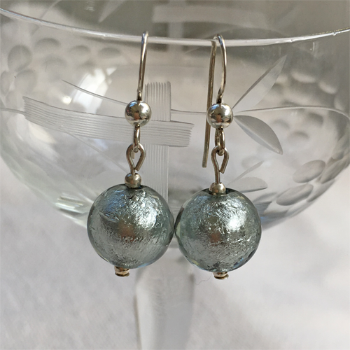 Earrings with grey Murano glass mini sphere drops on silver or gold hooks