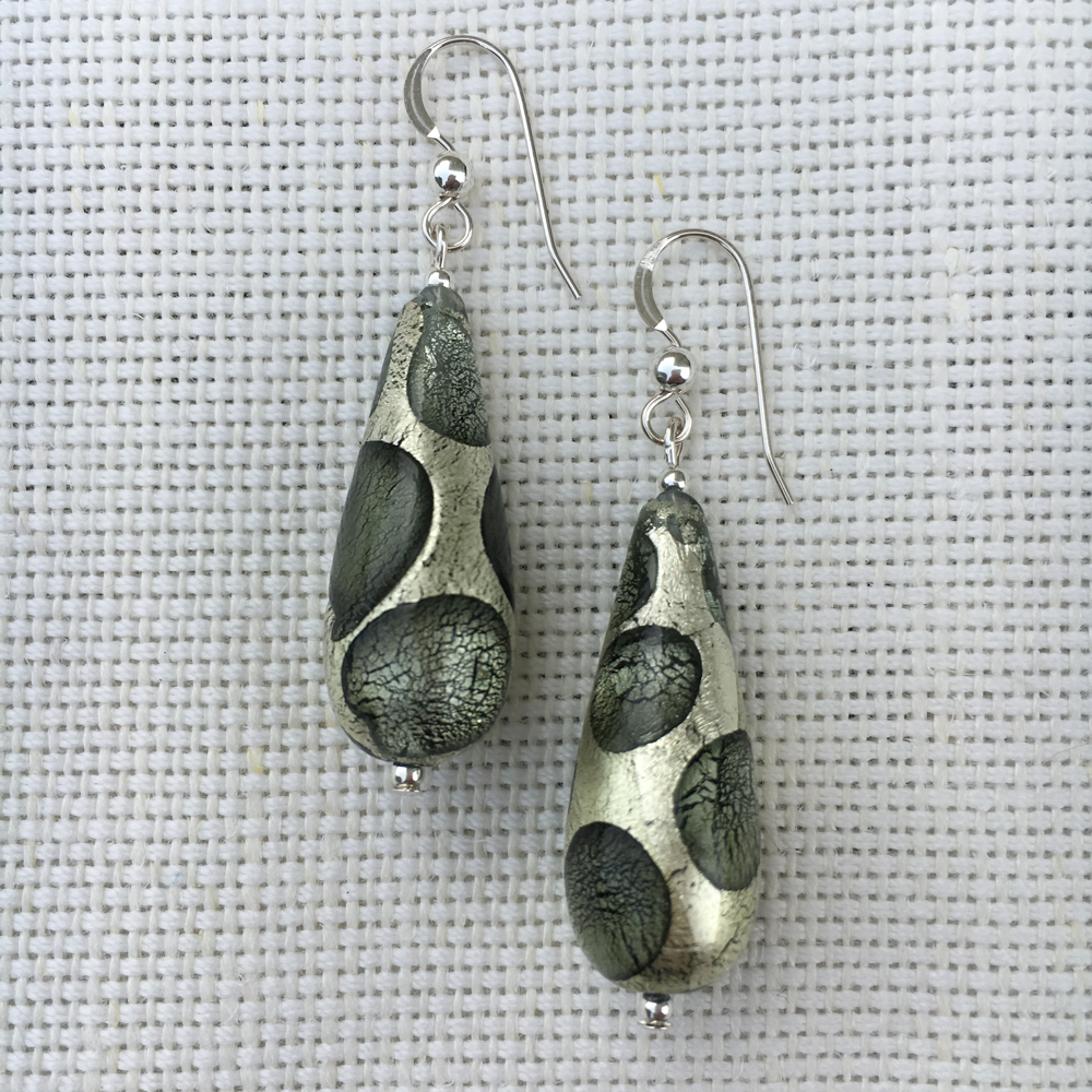Earrings with shades of grey, white gold Murano glass long pear drops on silver or gold