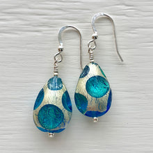 Earrings with shades of blue and white gold Murano glass pear drops on silver or gold