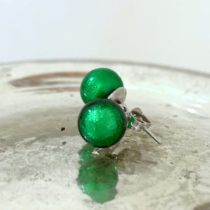 Earrings w/ dark green (emerald) Murano glass sphere (round) studs on surgical steel posts