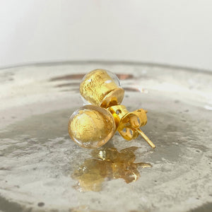 Earrings with light (pale) gold Murano glass sphere (round) studs on gold posts