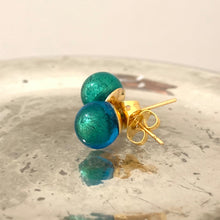 Earrings with sea green (jade, teal) Murano glass sphere (round) studs on gold posts