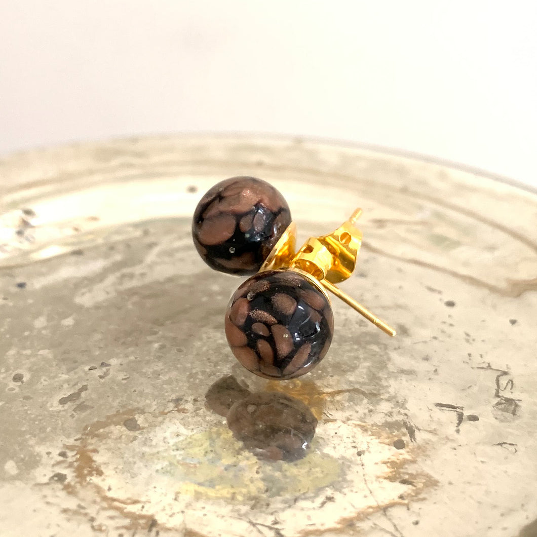 Earrings with black pastel and aventurine Murano glass sphere studs on plain or gold posts