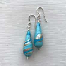 Earrings with shades of blue pastel Murano glass long pear drops on silver or gold hooks