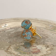 Earrings with blue opal and aventurine Murano glass sphere (round) studs on gold posts