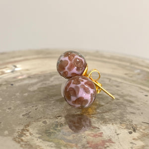 Earrings with pink pastel and aventurine Murano glass sphere (round) studs on gold
