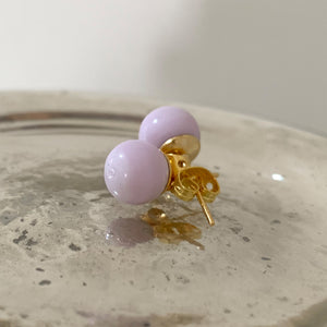 Earrings with light (pale) pink pastel Murano glass sphere (round) studs on gold posts