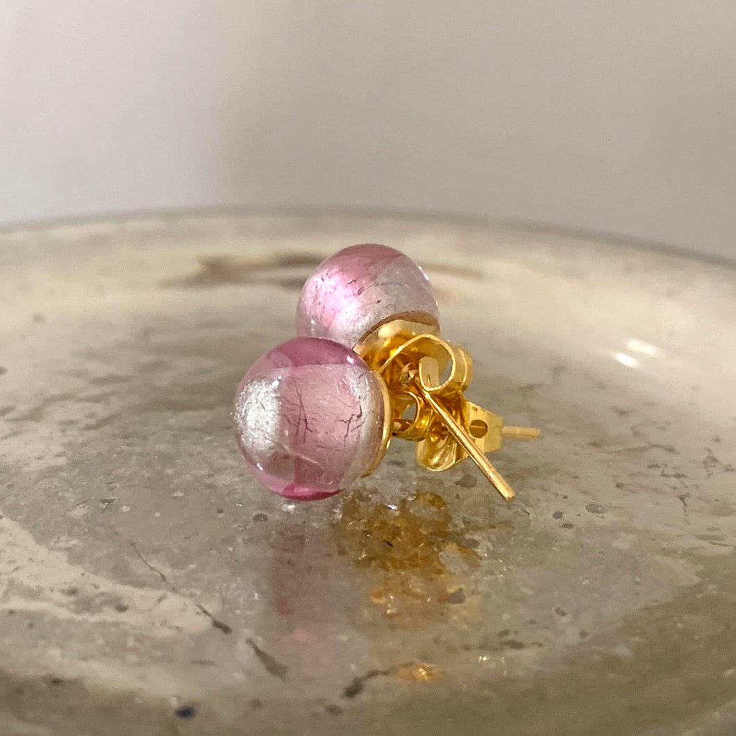 Earrings with clear crystal and hint of pink Murano glass sphere (round) studs on gold posts