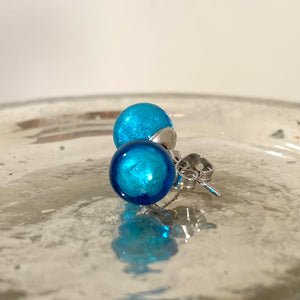 Earrings with turquoise (blue) Murano glass sphere (round) studs on surgical steel posts