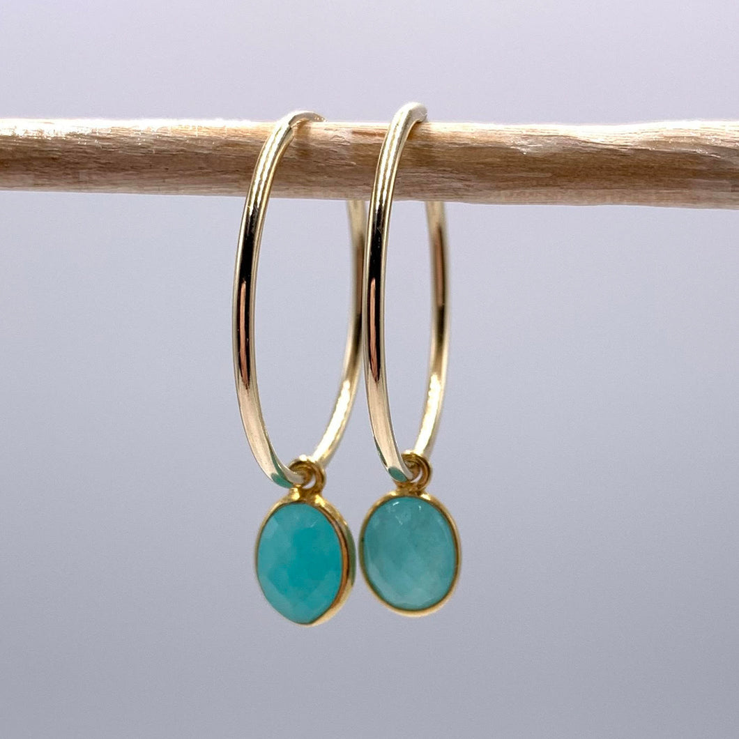 Gemstone earrings with amazonite (blue) oval crystal drops on gold large hoops