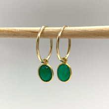 Gemstone earrings with green onyx oval crystal drops on gold small hoop ear wires