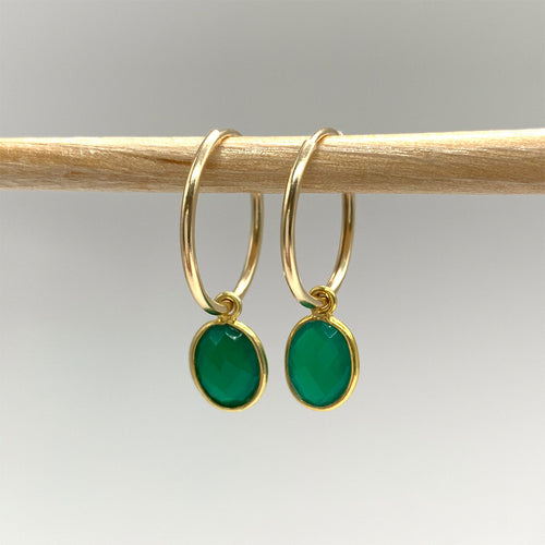Gemstone earrings with green onyx oval crystal drops on gold small hoops