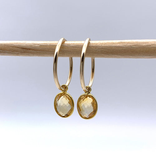 Gemstone earrings with citrine (yellow) oval crystal drops on gold small hoop ear wires