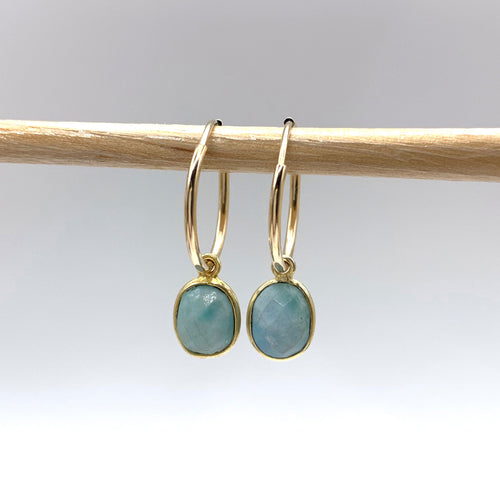 Gemstone earrings with larimar (aqua, blue) oval crystal drops on gold small hoops