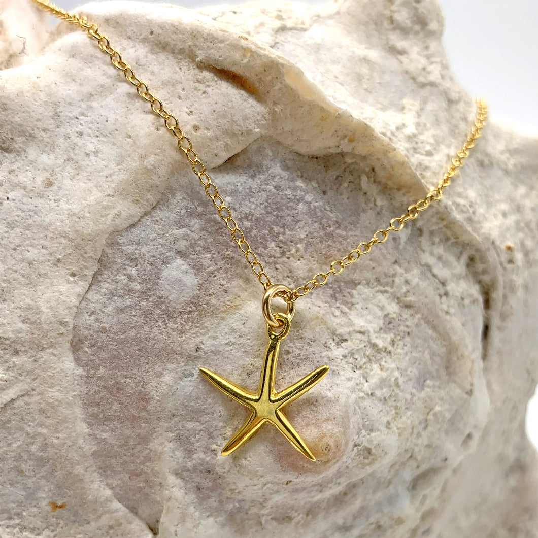22 Carat gold vermeil necklace with starfish charm pendant on cable chain