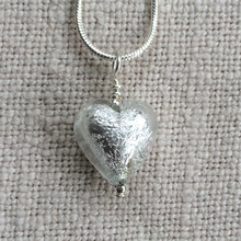Necklace with clear crystal and silver Murano glass small heart pendant on silver chain