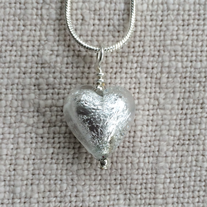Clear Crystal (it. Crystallo) Small Heart Pendant On Silver Chain Necklace