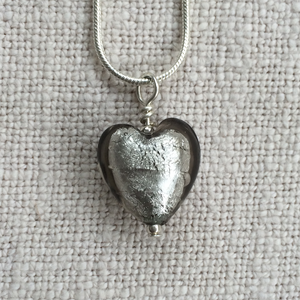 Necklace with grey (it. grigio) Murano glass small heart pendant on Sterling Silver snake chain